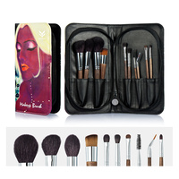 HUAMIANLI 10 Pcs Upscale Make up Brush Kit With Cosmetic Bag ,Animal Hair Wooden Handle For Eye Shadow Foundation Powder