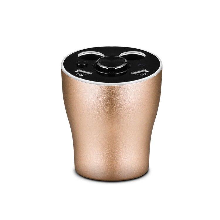 Multi fonction voiture chargeur support de verre double allume cigare prises adaptateur secteur 2 Ports USB avec Bluetooth sans fil écouteur - 2
