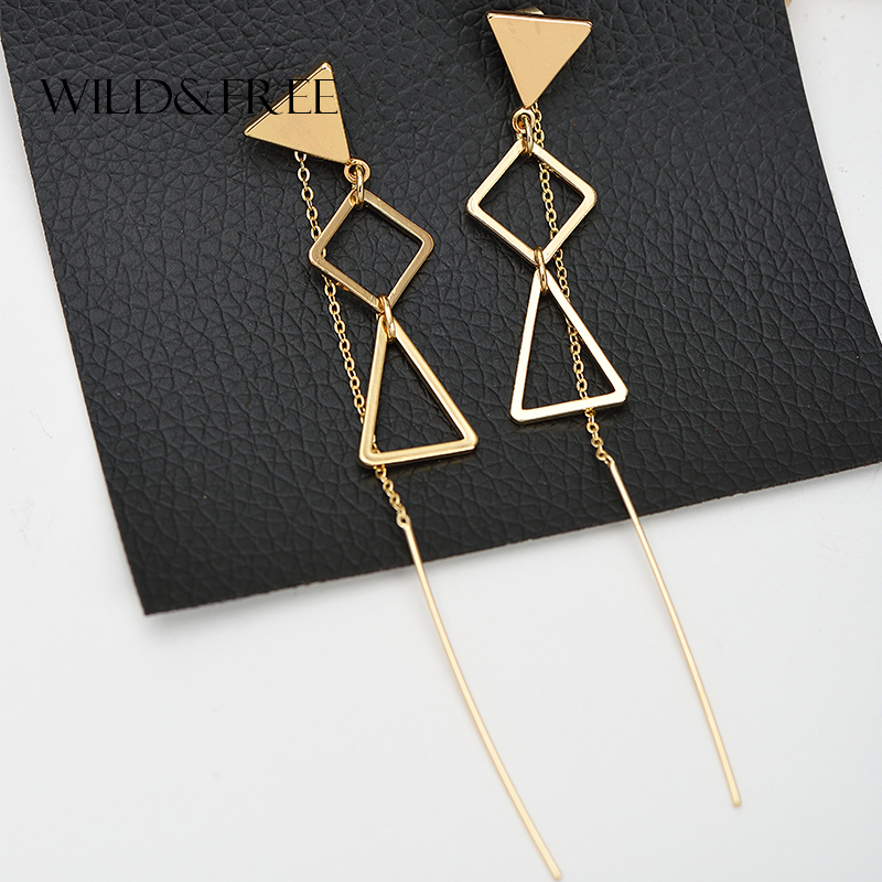 Women Zinc Alloy Triangle Long Ear Line Pendant Stud Earrings Gold Hollow Out Geometric Shape Stud Earrings Jewelry For Female