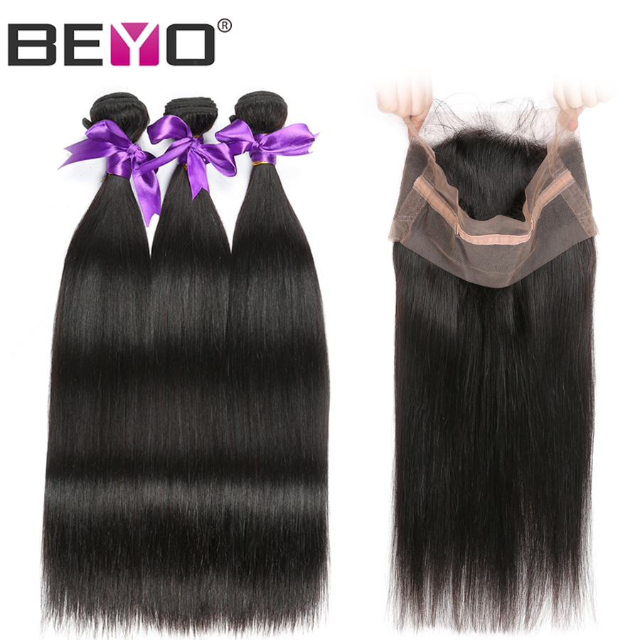 3 Bundles With 360 Lace Frontal Peruvian Straight Hair Bundles With Closure Human Hair Bundles Non