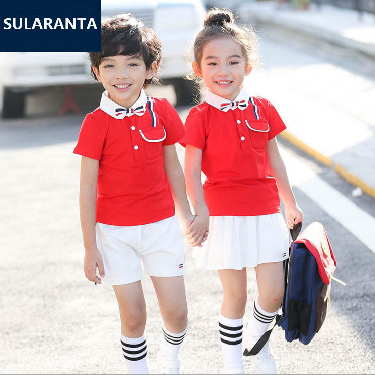 Children Student Korean Japanese Primary Junior High School Uniform for Girls Boy Collar T Shirt Top Skirt Shorts Outfit Clothes