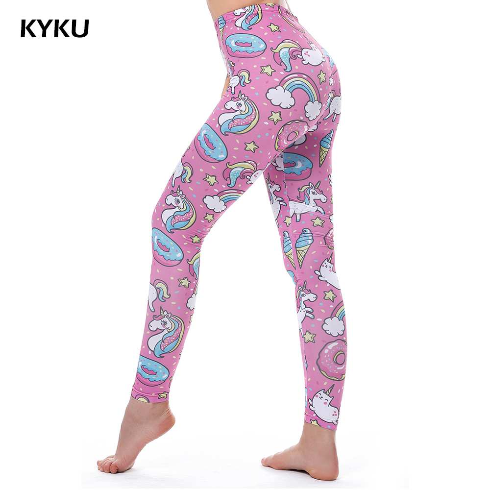 KYKU Marca Unicornio Leggings Mujeres Leggins Fitness Legging Pantalones Sexy Cintura Alta Push Up Brillante 3d Impreso Rainbow Star Cat Donuts