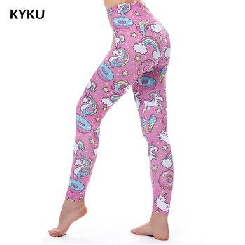 KYKU marca mallas de unicornios mujer Leggins Fitness Legging Sexy pantalones de cintura alta, Push Up brillante 3d impreso estrella Arco Iris gato Donuts