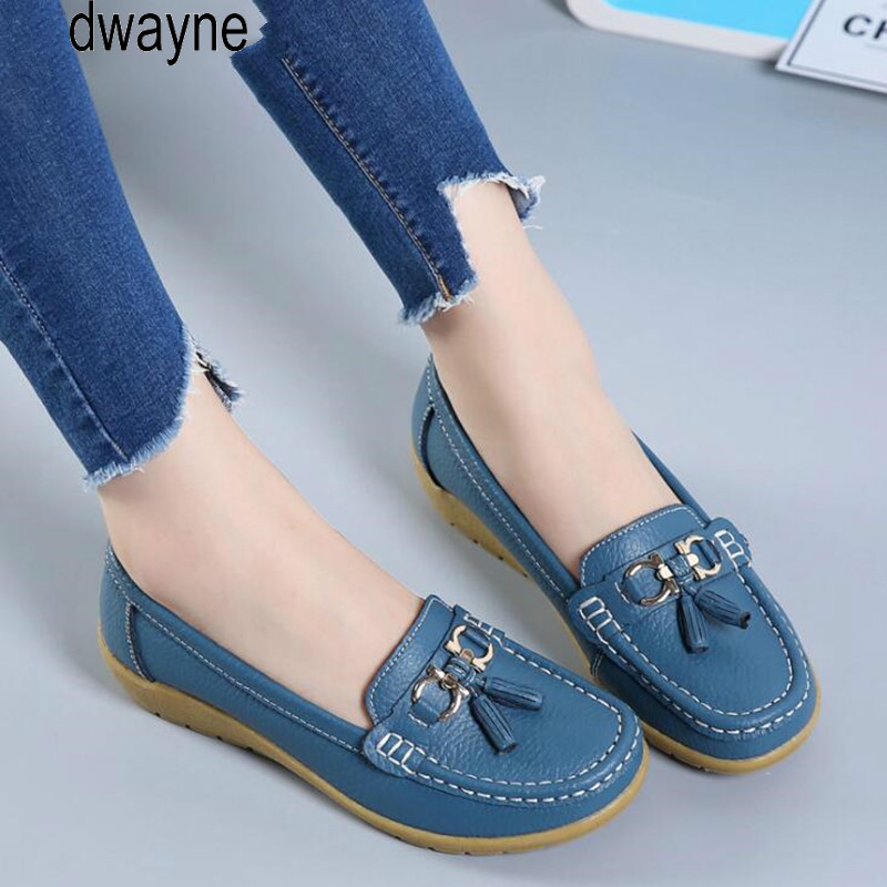 2019 Spring Autumn Shoes Woman Cow   Leather   Flats Women Slip On Women's Loafers Female Moccasins Shoe Large Size ghn78