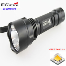 U-F C2 CREE XM-L2 U3 1800lm Cool White Light 1-Mode 2.7-14V SMO LED Flashlight (1 x 18650)