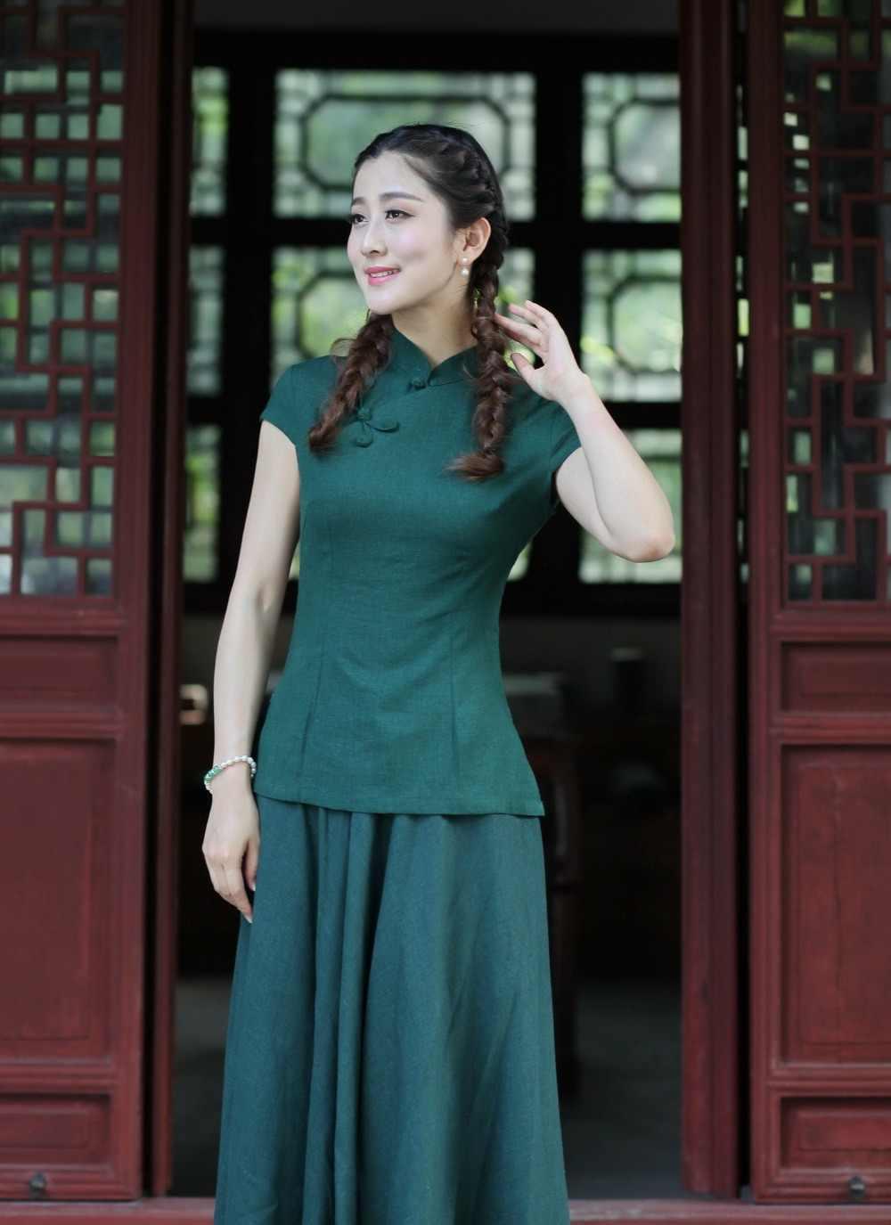 新到着夏中国風の綿リネン女性唐スーツトップスブラウス伝統的なエレガントなスリムシャツ ML XL XXL xxxl 2518 から 1