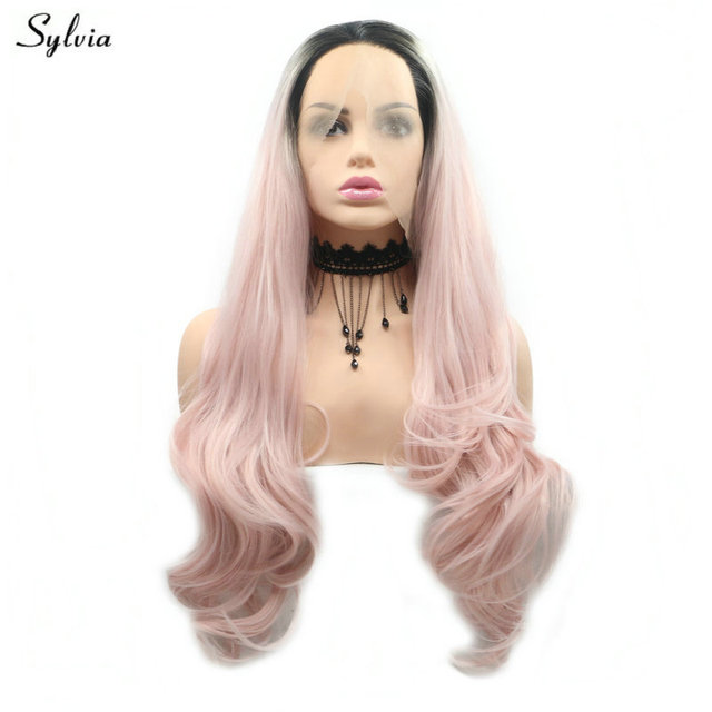 Sylvia Pastel Pink Wig Ombre Dark Roots 2 Tone Long Synthetic Hair Body  Wave Women s Cosplay Handmade Lace Front Wigs for Party a3fdaf8d71