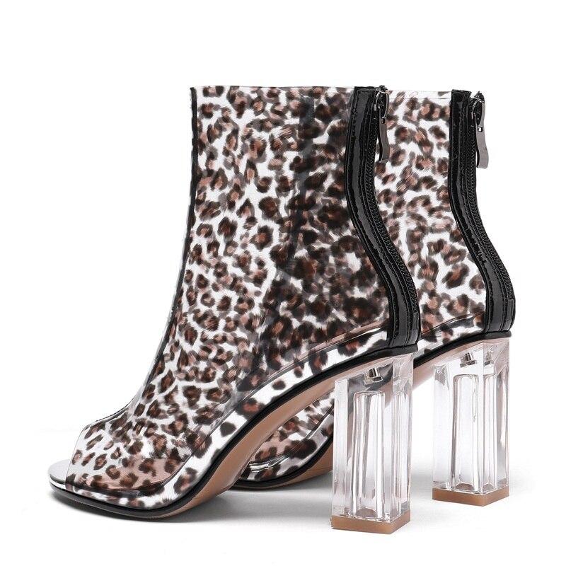 Sandalias Y Transparente Verano Impreso Botas Impresión De Primavera Tobillo Marca Leopard Para Zapatos Leopardo Moda Mujer Tacón xP7YRY5qw