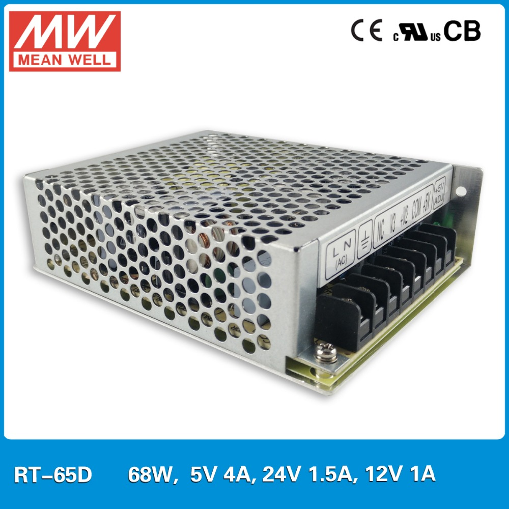 MeanWell RT-65 68W Triple three Isolatdc regulated DC output Power Supply SMPS High stability Transformer 5V 12V 24V 1A 4A 5A 6A
