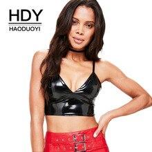 HDY Haoduoyi Super Push Up Sexy PU Leahter Bralette Crop Top Adjusted Straps Plunge V Neck Bra Zipper Back Black Bralet Lingerie plunge lace crochet cutout bralette bra straps