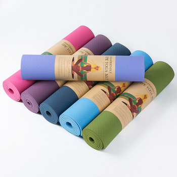 Eco-friendly Fitness TPE Yoga Mat 6mm Thick Non-Slip Soft Design Chemical Free No Smell Exercise Mat Pilates Mat