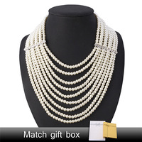 Multi layer Simulated Pearl Choker Necklace Fashion Jewelry Wedding For Women Statement Collar Necklace Gift Box N205