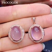 Натуральный Мода стразы из розового кварца комплекты украшений для женщин девочек ожерелье для вечеринки кольцо 6Ct большой драгоценные кам