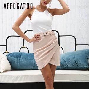 Image 3 - Affogatoo גבוהה מותניים זמש עור חצאיות 2018 סתיו חורף חגורת ruched bodycon חצאית נשים אסימטרית קצר חצאיות נקבה
