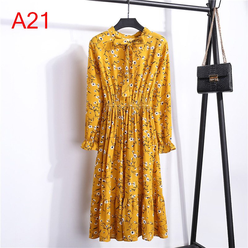 Korean Black Shirt Vestidos Office Polka Dot Vintage Autumn Dresses Women Winter Dress 19 Midi Floral Long Sleeve Dress Female 67