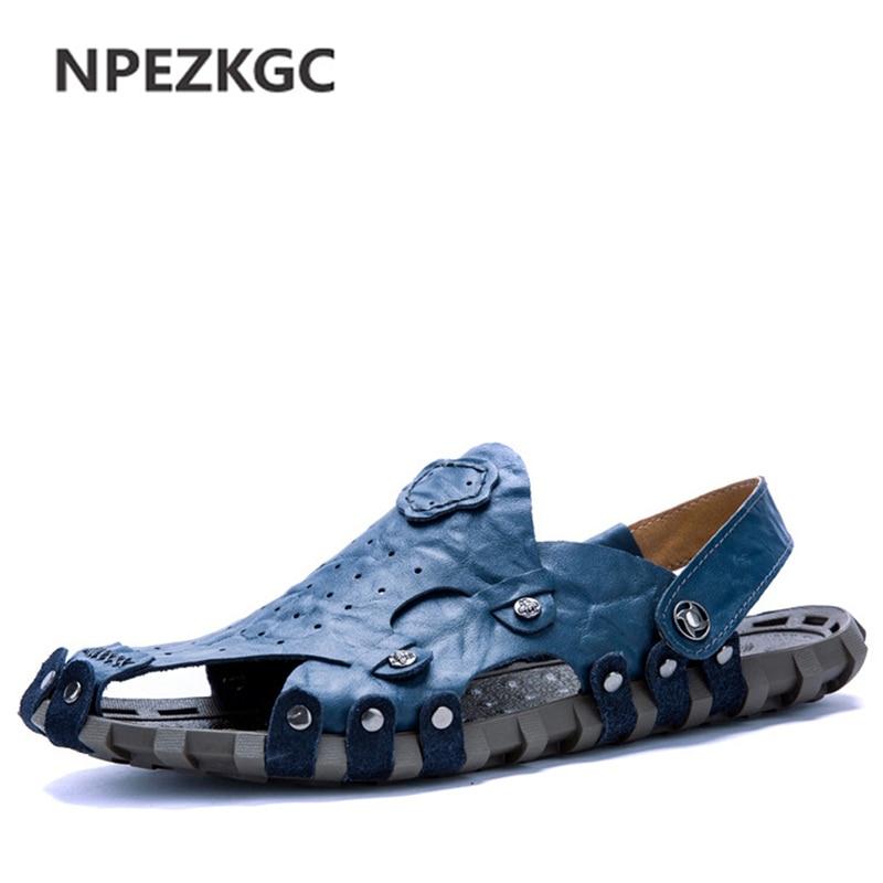 Npezkgc Marke Neue Weiche Leder Sommer Männer Hausschuhe Strand Sandalen Komfort Herren Freizeitschuhe Mode Sandalen Tropfenverschiffen