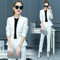2017 jacket and pant women's set 2 piece women two piece set crop top and pant set OL office clothes jacket spring suit