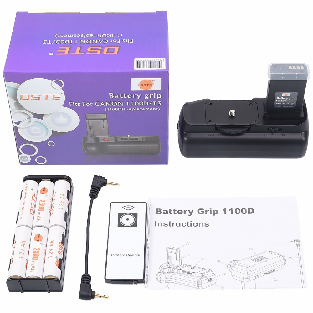 DSTE BG-E10 Batterie Grip + 6 pièces Piles Rechargeables NI-MH AA batterie pour Canon 1100D 1200D 1300D Rebelles T3 T5 T6 DSLR Caméra