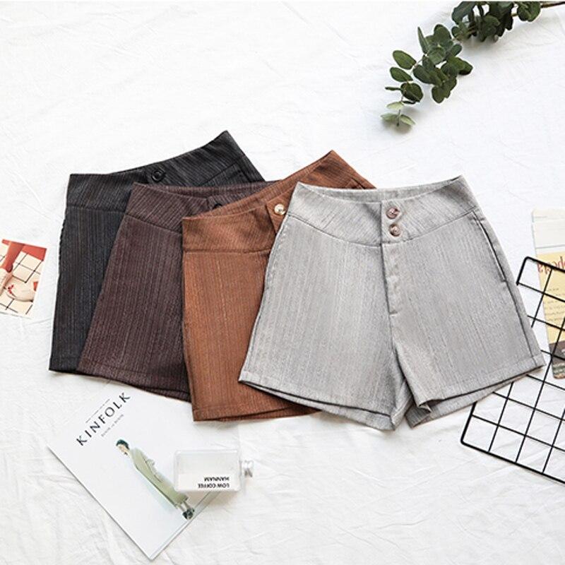 Summer High Waist Soild   Shorts   Loose Pockets Casual Buttons Women Bottoms Basic   Shorts   2018 Plus Size High Quality