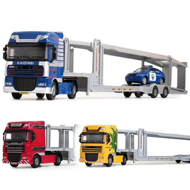 Alliage moulé sous pression Double pont voiture transporteur plat-lit remorque camion 150 plate-forme véhicule modèle jouets passe-temps pour enfants cadeau de noël