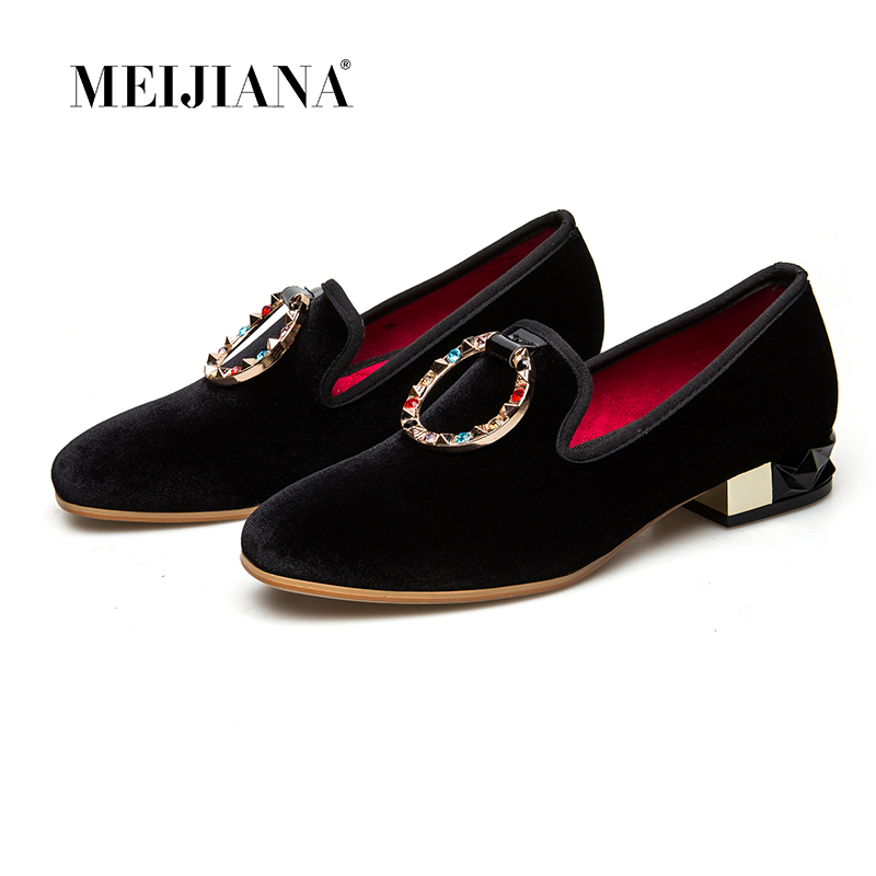MEIJIANA 2019 Spring Autumn Women Pumps Low Heels Genuine Leather Brand Pumps Luxury Metal Buckle With