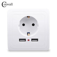 Coswall New Arrival Wall Power Socket 16A EU Standard Outlet With 2400mA Dual USB Charger Port for Mobile Super Power()