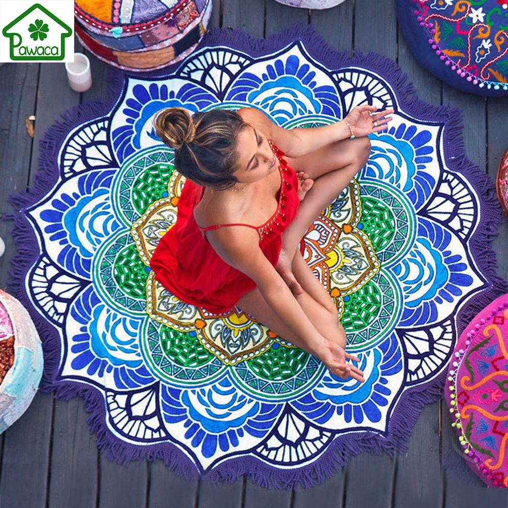 150 cm Tassel Indische Mandala Tapisserie Lotus Gedruckt Böhmischen Strand Handtuch Wandbehang Wandteppiche Yoga Mat Blanket Bikini Vertuschen