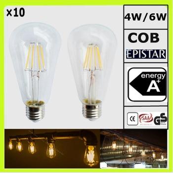 Manufacturer 10 pieces 4W or 6W LED vintage bulb filament bulbs clear glass filamento bombilla E27 ST64 ST18 CRI>80Ra