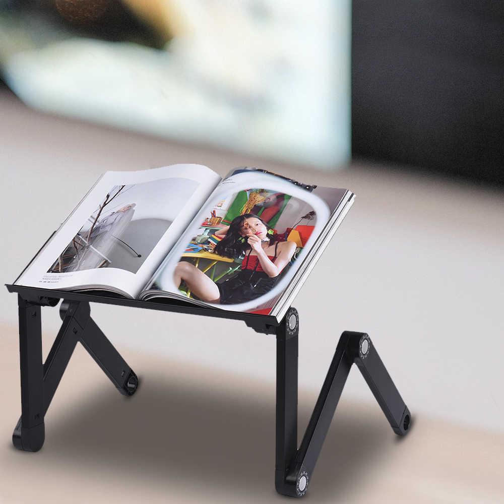 Складная Настольная подставка для ноутбука кулер вентилируемый компьютерный стол Кровать Подставка для ноута 360 градусов Регулируемый алюминиевый сплав