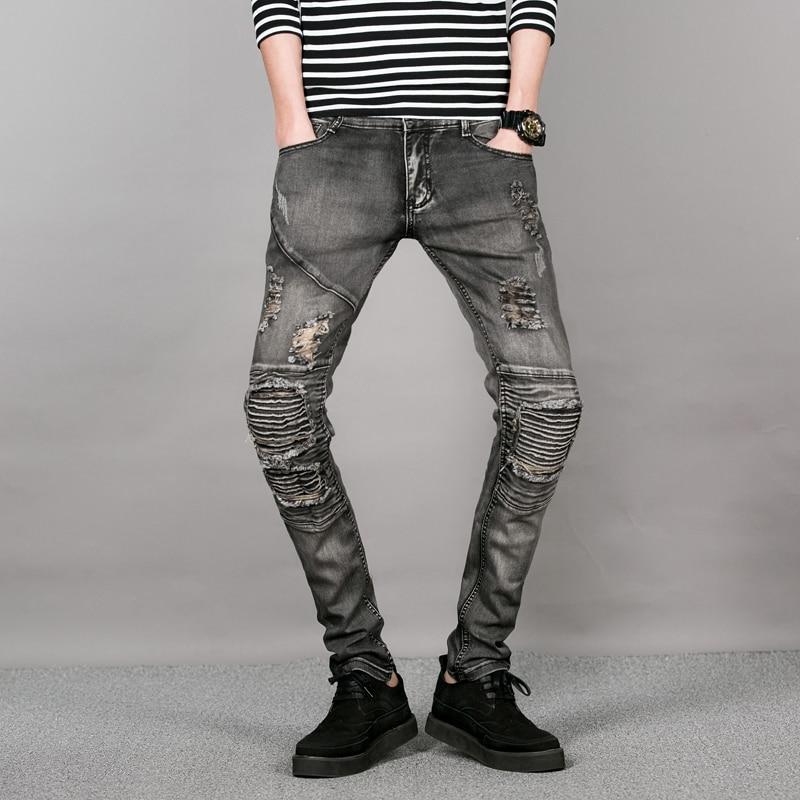 Nueva Corea Gris Jeans Rotos Hombres Rodilla Patchwork Skinny Jeans Para Hombre Pantalones Hip Hop Pantalones De Mezclilla Chicos De La Calle Delgado Biker Jeans Masculinos Pant Pants Jean Jumpsuitjean Button Aliexpress