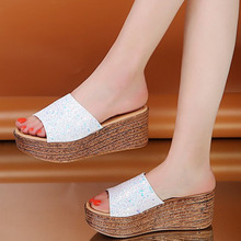 купить Slippers women summer open toe high heels espadrilles ladies sandals sexy wedges platform shoes beach slides flip flops по цене 1385.92 рублей