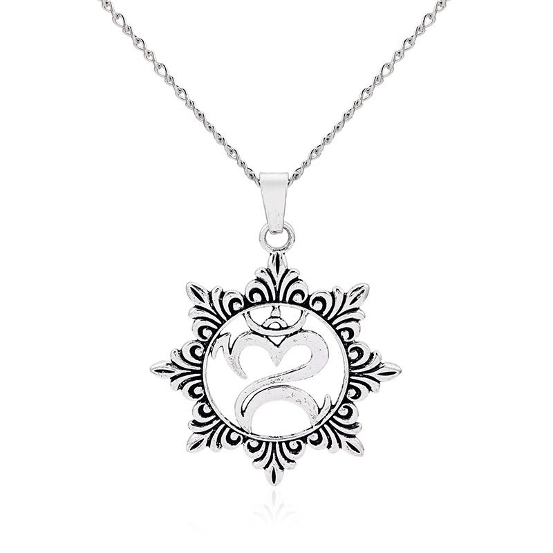 1pcs Antique Silver Large Lagenlook Big Flower OM OHM YOGA Symbol Pendant Long Chain Sweater Necklace Collier Colar Jewelry
