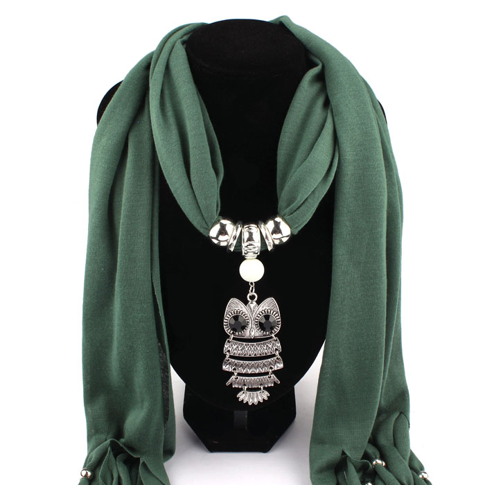 MUQGEW New Women Necklace Scarves Owl Pendant Jewelry Tassels Scarf Shawl Wrap New Creative