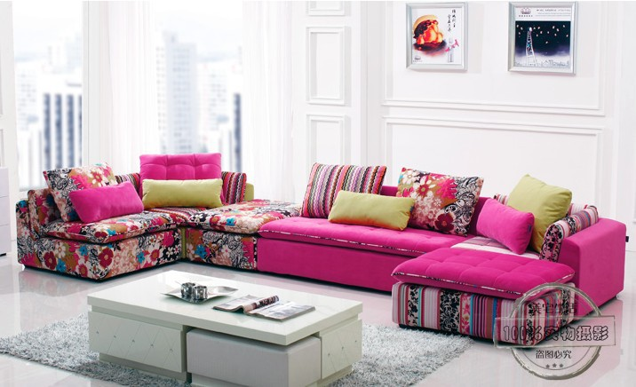 U Best Colorful Fabric Sectional Sofa Set Fashion Living Room Section Modern