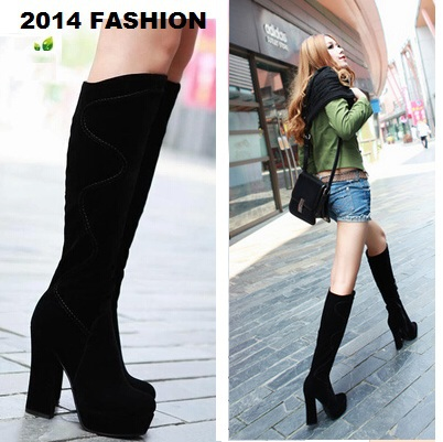Platform Chunky Heel Suede Knee-High Boots 2015 new for sale cheap nicekicks cost cheap price rODNbdi