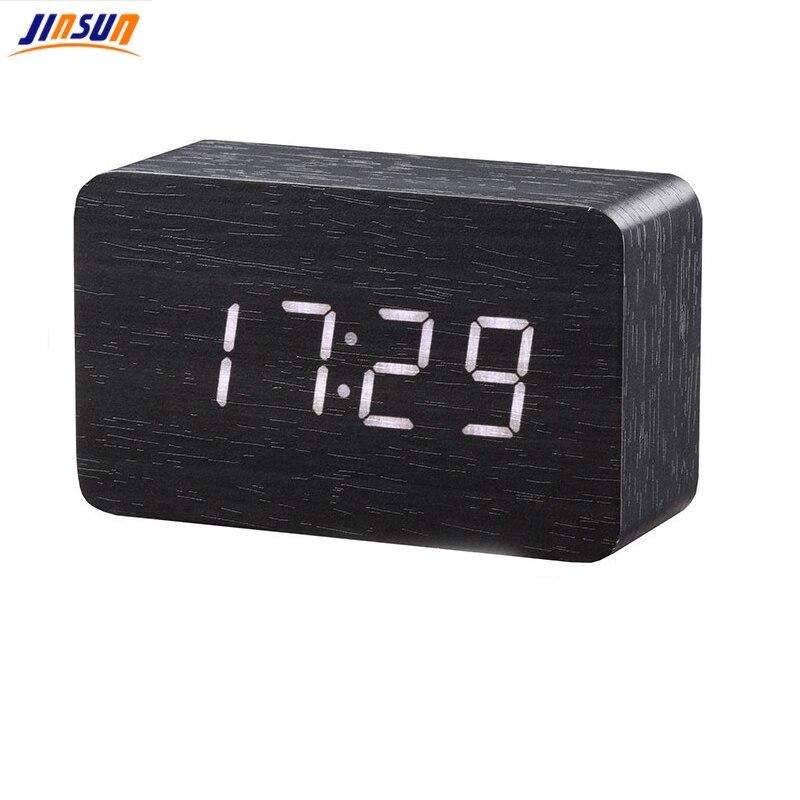 JINSUN Holz Bambus LED Wecker Reloj Despertador Moderne Temperatur Schreibtisch FÜHRTE Elektronische Uhr Desktop Digitale Tischuhr