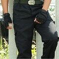 Envío libre de Los Hombres de Combate Multi-bolsillos Utility Flojo Ocasional Largo Encuadre de cuerpo Entero pantalones De Carga de Trabajo Pantalones de Camuflaje Gris pantalones