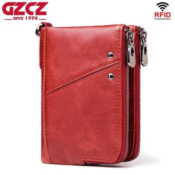 GZCZ 2018 Fashion Women Wallet Genuine Leather Zipper Design Female Short Rfid Purse With ID Card Holder Coin Pockets Mini Walet