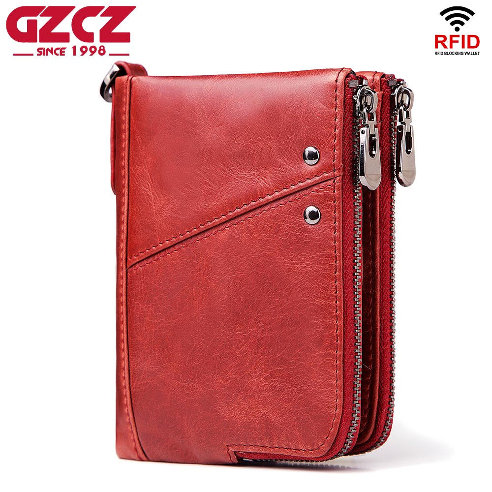 GZCZ 2018 Fashion Women Wallet Genuine Leather Zipper Design Female Short Rfid Purse With ID Card Holder Coin Pockets Mini Walet gzcz genuine leather wallet men zipper design bifold short male clutch with card holder mini coin purse crazy horse portfolio
