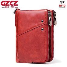 GZCZ 2019 Fashion Women Wallet Genuine Leather Zipper Design Female Short Rfid Purse With ID Card Holder Coin Pockets Mini Walet