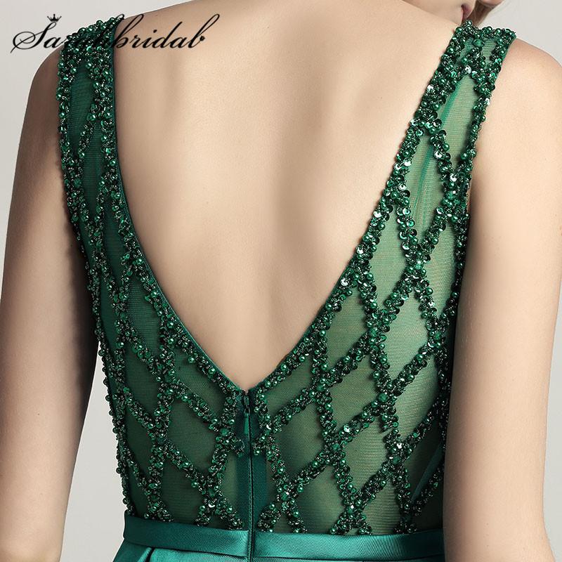 потрясающие beer длинные вечерние платья о средства ухода за кожей шеи иллюзия вернуться линия атлас зеленый vestido Лонго пол длина платья вечерние платья cc443