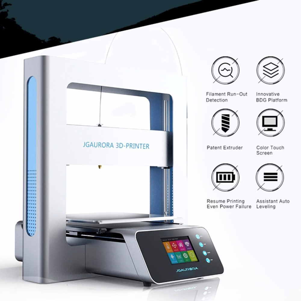 JGAURORA A3S Portable 3D Printer Full Metal Frame High Precision Large Printing Size USB Printing Machine LCD Touch Screen flsun delta 3d printer large print size 240 285mm 3d printer pulley version linear guide kossel large printing size