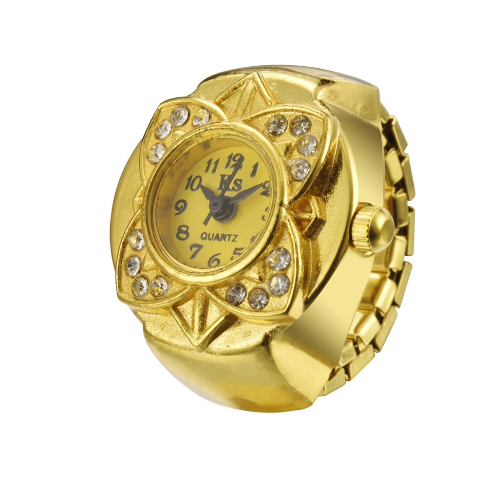 Hot Fashion Women Gold Flower Style Alloy Analog Quartz Finger Ring Watch high quality girl lady clock hour WH333 analog watch
