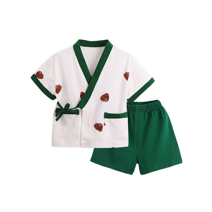 Summer Children's Pajamas Thin Cotton Boy Girl Kimono Pajamas Japanese-style Kids Yukata Traditional Traditional Sleepwear Z958(China)