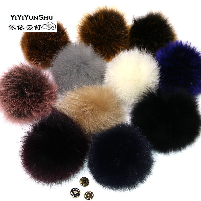 Real Fox Fur Pompom Fur Pom Poms Ball for Hats & Caps Big Natural Fur Pompon Ball For Shoes Hats Bags Accessories Genuine Fur alphbet pompom fashion for car 12cm fluffy real fox fur pompon key ring keychain for bag accessory