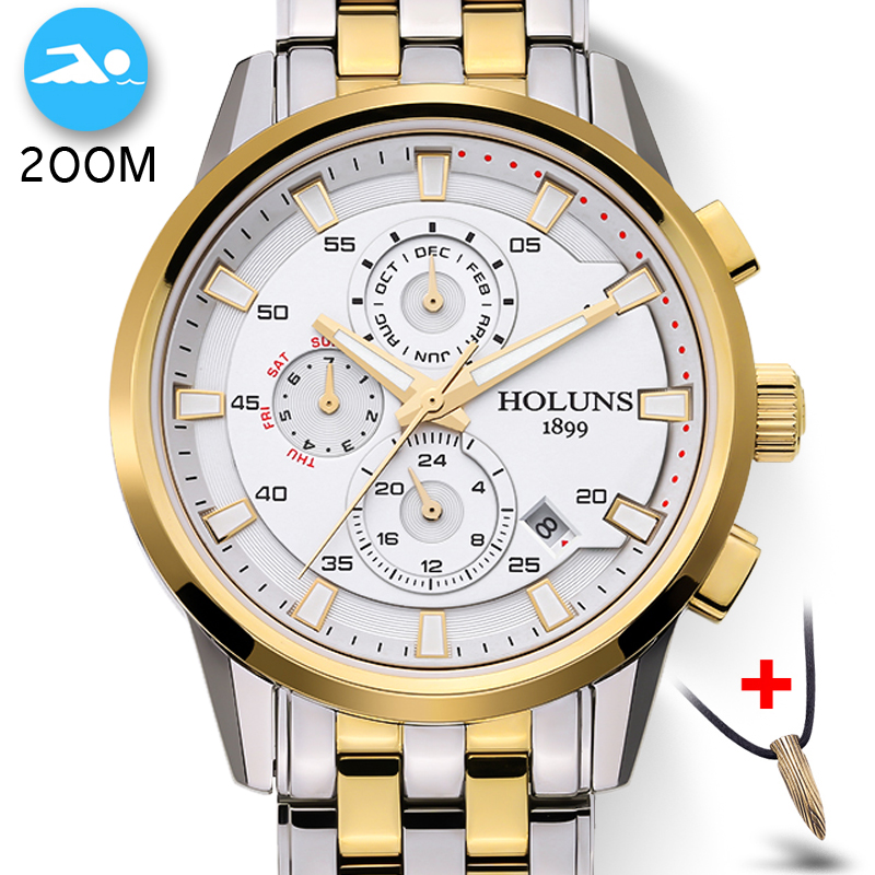 Simple Man 200m Dive Auto Wrist Watch New Fashion Mechanical Watch Men 3 Dail Design Top