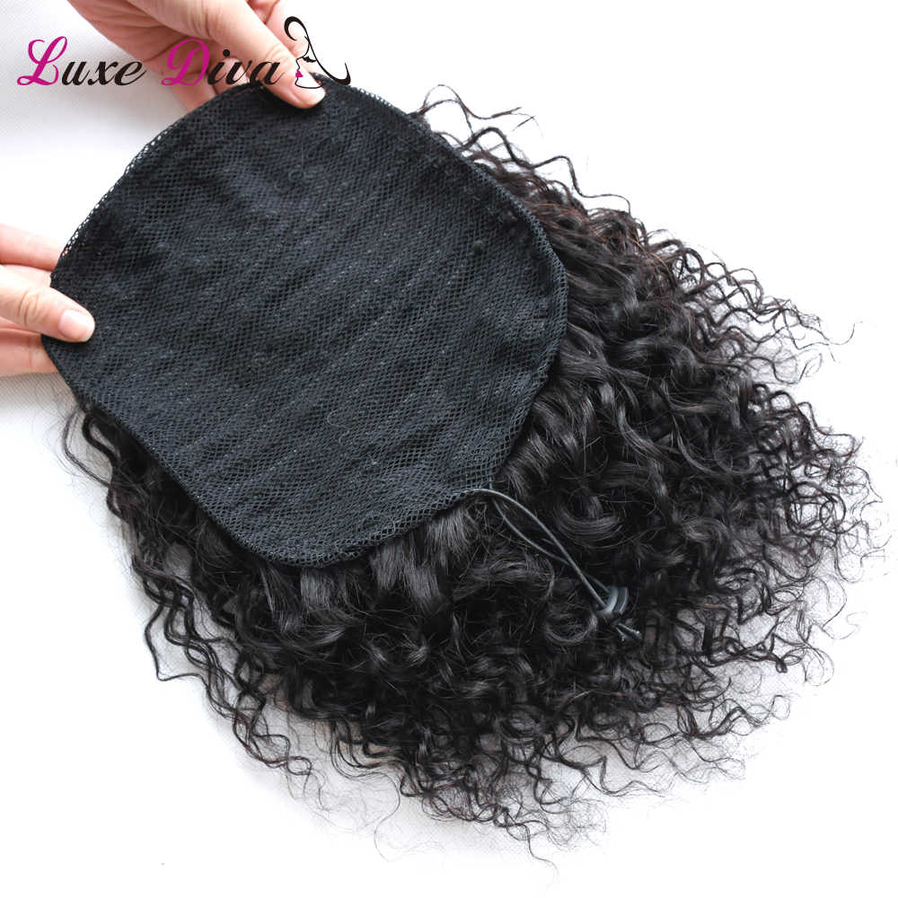 LD натуральные черные волосы Remy 1 шт. зажим в хвостиках шнурок 100% продукты человеческих волос афро кудрявый хвост для женщин