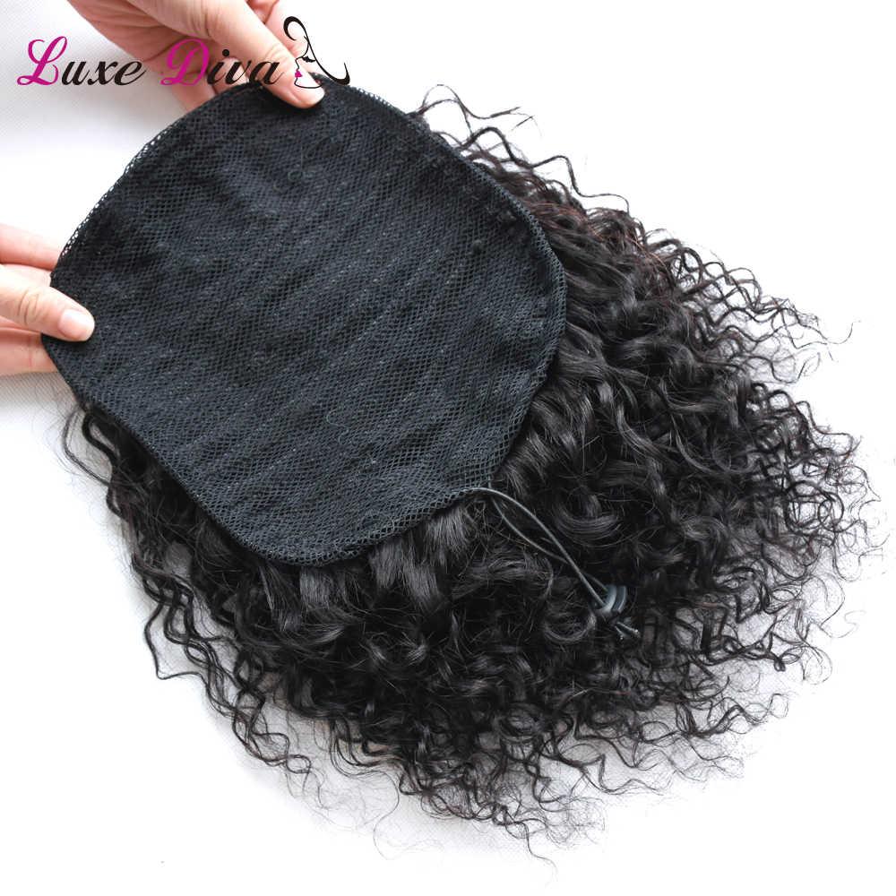 LD pelo Remy negro Natural 1 pieza Clip en cola de caballo cordón 100% productos para el cabello humano Afro rizado Cola de Caballo para mujer