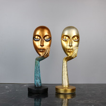 Nordic Modern Thinker Gold Mask Abstract Statue Creative Resin Face Sculpture Art Crafts Entrance Living Room Office Home Decor