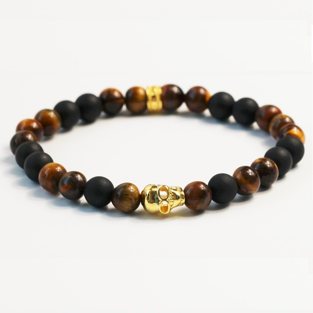 Thomas Style Gold Skull Tiger's Eye Beads Bracelets TS Jewelry Rebel And Heart Vintage Friendship Bracelets For Men Gifts Bijoux